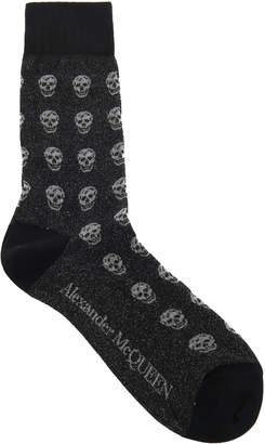 Alexander McQueen Skull-Print Cotton-Blend Socks