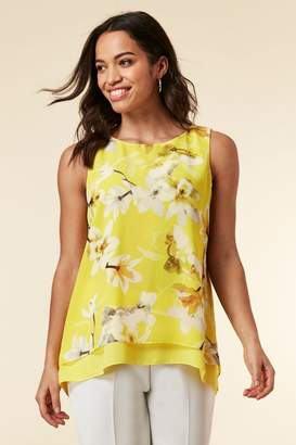 Wallis Womens Yellow Orchid Double Layer Top - Yellow