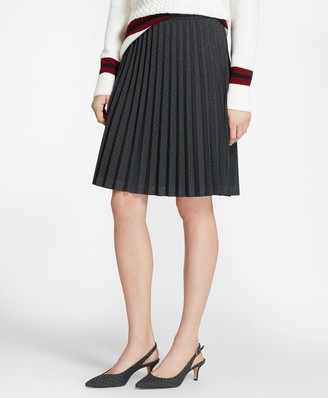 Brooks Brothers Flocked Polka Dot Twill Pleated Skirt