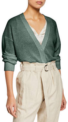 Brunello Cucinelli Sequined Linen/Silk Snap-Front Cardigan