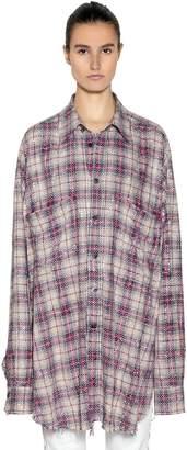 Faith Connexion Oversize Studded Check Cotton Shirt