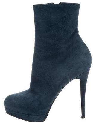 Christian Louboutin Suede Platform Ankle Boots