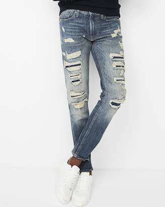 Express Skinny Medium Wash Ripped Stretch Jeans