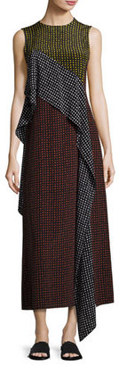 Diane von Furstenberg Sleeveless Dot-Print Silk Ruffle-Trim Maxi Dress, Multicolor $498 thestylecure.com