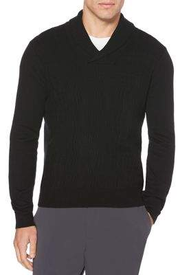 Perry Ellis Cable Knit Shawl Collar Long Sleeve Sweater