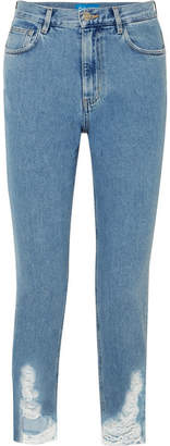 MiH Jeans Mimi Frayed High-rise Slim-leg Jeans - Mid denim
