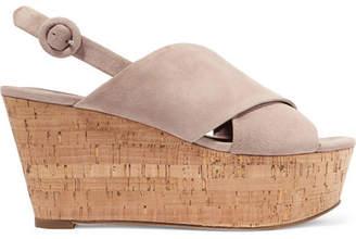Diane von Furstenberg Juno Suede Slingback Wedge Sandals - Beige