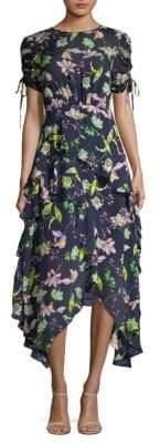 Tanya Taylor Cosette Garden-Print Handkerchief Dress