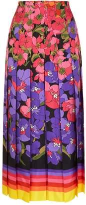 Gucci Floral Pleated Midi Skirt