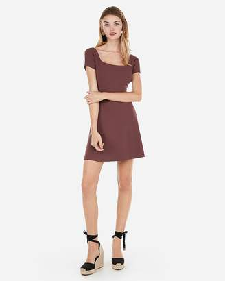 Express Square Neck Fit And Flare Mini Dress