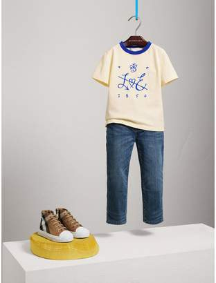 Burberry Flocked Emblem Cotton T-shirt
