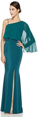 Social Graces Women's One Shoulder Sheer Popover Stretch Crepe Maxi Dress Evening Gown with Slit 4 Green