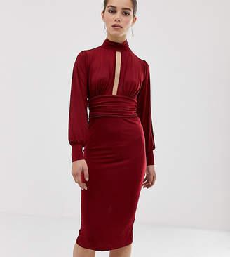 Asos DESIGN Petite slinky keyhole ruched waist midi dress