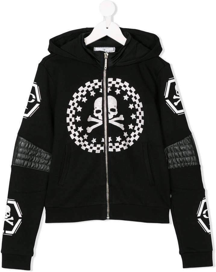 Philipp Plein Junior skull and crossbones motif hoodie