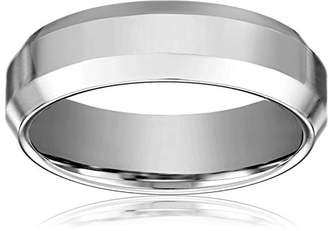 Men's Cobalt 7mm Comfort Fit Plain Wedding Band with High Polished Center and Beveled Cut Sides