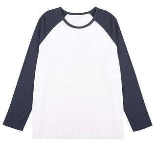 Mens Big & Tall Navy And White Long Sleeve Raglan T-Shirt