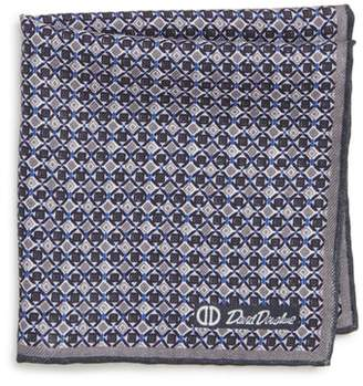 David Donahue Geometric Wool & Silk Pocket Square