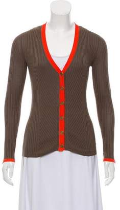 Magaschoni Colorblock Rib Knit Cardigan