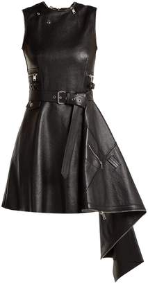 Alexander McQueen Asymmetric lambskin leather dress
