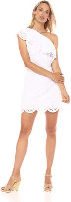 Cupcakes And Cashmere Women's Cosmo Eyelet One Shoulder Ruffle Dress, Extra Small
