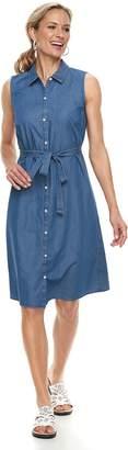 Croft & Barrow Women's Print Belted Shirt Dress