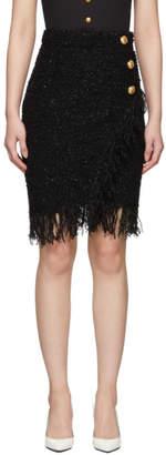Balmain Black Three-Button Wrap Skirt