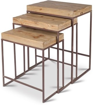 Lone Elm Studios Nested, Metallic Tables with Stained Wood Top in Assorted Sizes (Set of 3)