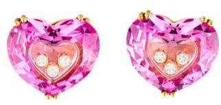 Chopard 18K Synthetic Sapphire & Diamond So Happy Heart Diamond Earrings
