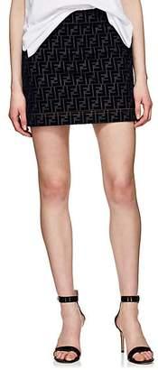 Fendi Women's Logo Denim Miniskirt - Navy