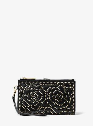 Michael Kors Adele Rose Studded Leather Smartphone Wallet