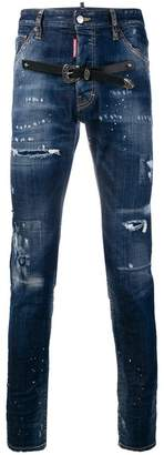 DSQUARED2 belt ripped jeans