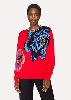 Paul Smith Women's Red 'Ocean' Intarsia Sweater