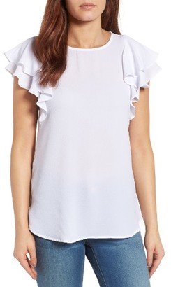 Women's Bobeau Ruflle Sleeve Top $49 thestylecure.com