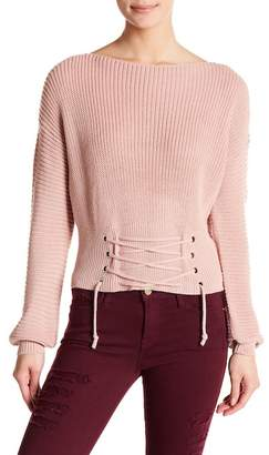 Cotton Emporium Lace-Up Bishop Sleeve Knit Sweater