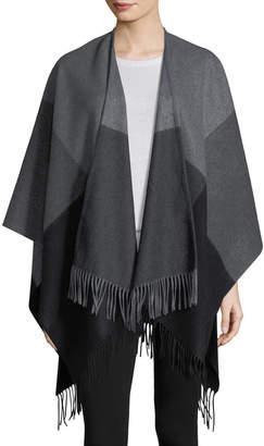 Neiman Marcus Two-Tone Wool Ruana Shawl