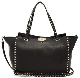 Valentino Rockstud Medium Leather Tote Bag - Womens - Black