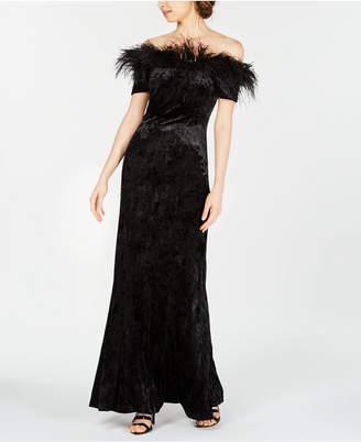 Calvin Klein Velvet Feather-Trim Gown
