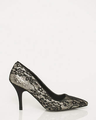 Le Château Lace & Glitter Pointy Toe Pump