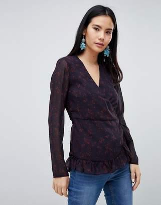 Pieces Mabel floral print wrap blouse