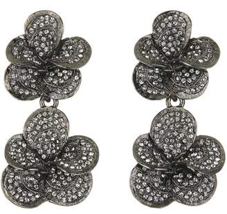 Oscar de la Renta BRUSHED TEXTURE FLOWER PAVE DROP C EARRING