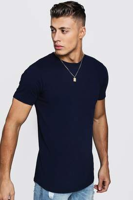 boohoo Short Sleeve Longline T Shirt With Curve Hem