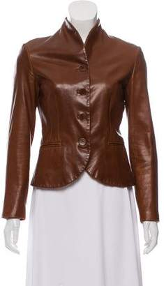 Ralph Lauren Collarless Leather Jacket
