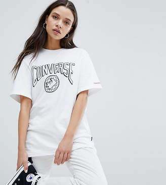 Converse Star Chevron World Logo T Shirt In White
