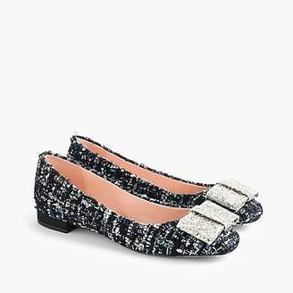 J.Crew Poppy ballet flats in tweed with glitter bow