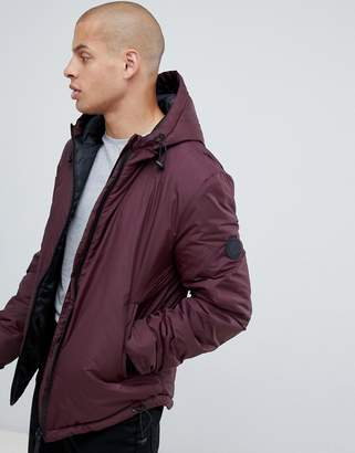 Religion puffer hooded jacket in burgundy