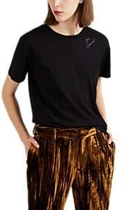Saint Laurent Women's Logo Cotton Fitted T-Shirt - Black