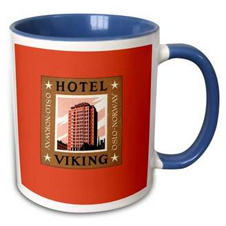 +Hotel by K-bros&Co 3dRose Hotel Viking Oslo Norway Vintage Luggage Label Reproduction - Two Tone Blue Mug, 11-ounce