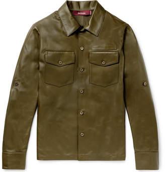 Sies Marjan Leather Overshirt - Army green
