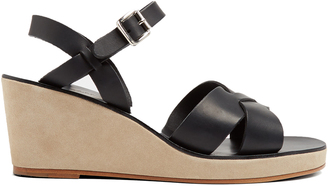 A.P.C. Classic leather and suede wedges $296 thestylecure.com