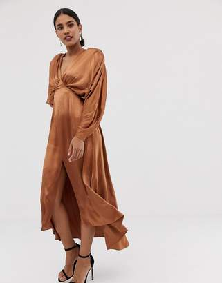 Asos Edition EDITION ruched batwing midi dress in satin